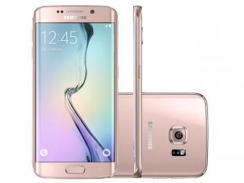 "Smartphone Samsung Galaxy S6 Edge 32GB Rosê 4G - Câm. 16MP + Selfie 5MP Tela 5.1"" Quad HD Octa Core"