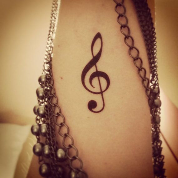 Music tattoo temporary tattoo music note tattoo fake tattoo treble clef tattoo