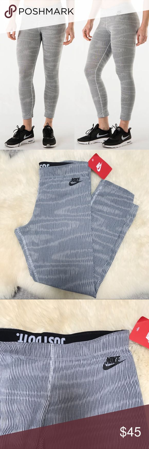 "Nike Striped Stretch Cotton Leggings •Cropped stretchy cotton leggings with an all over print.  •Size Medium, true to size. Inseam 23"".  •New with tag.  •No trades. No holds. Nike Pants Leggings"