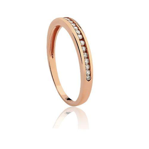 Meia Aliança Ouro Rosé e Diamantes Jazz