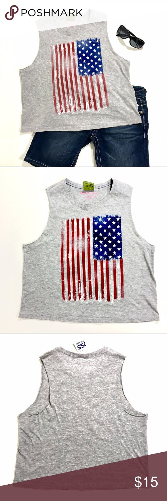 Rebellious One Americana Top Rebellious One Active Crop Tank Hit the gym, run errands or just relax - and look great, too! - in Rebellious One's eye-catching muscle tee/crop tank featuring an American flag with arrows graphic design. Rebellious One Tops Crop Tops