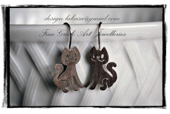 cat earrings sterling silver white gold by LakasaEshopDesign #jewellery #earrings #cat #jewelry #catearrings #catlovers #catjewelry #joyas #mujer #woman #moda #gift #silver #925 #silver925 #gatto #collection #fashion #γατα #σκουλαρικια #ασημενια #ασημι925 #lakasaeshop #etsy #shop