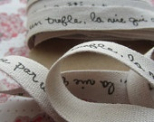 1m  Printed Tape. French Inspired - Script on Cream. 2cm wide.