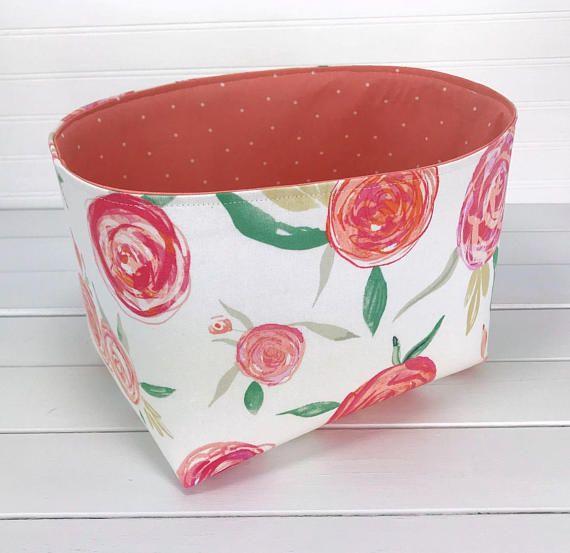 Storage Basket Bin,Nursery Decor,Nursery Storage Bin,Organizer Bin,Fabric Basket,Home Decor,Flowers,Floral,Blush Pink,Coral Pink,Watercolors