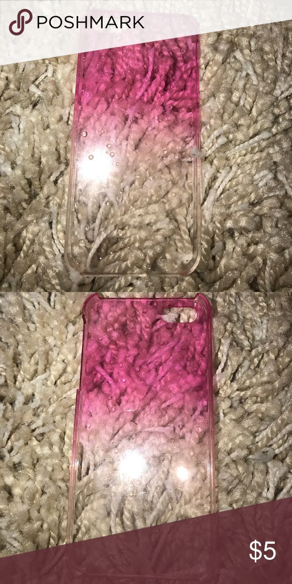 Pink ombré raindrop iPhone 5/5s case This is a plastic case that goes from a hot pink and turns clear with an ombré it has plastic rain drops on it giving it a wet effect that fits the iPhone 5/5s case amazon Accessories Phone Cases