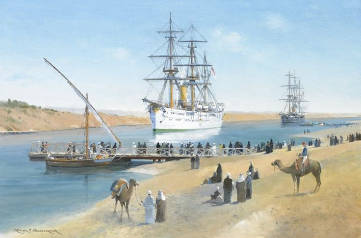 HMS Serapis British Royal Navy Troop Ship Art Print Painting by Naval Artist Roger H. Middlebrook GAvA