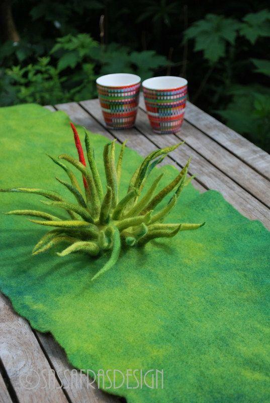 Hand felted fiber art table runner OOAK home by sassafrasdesignl, $195.00