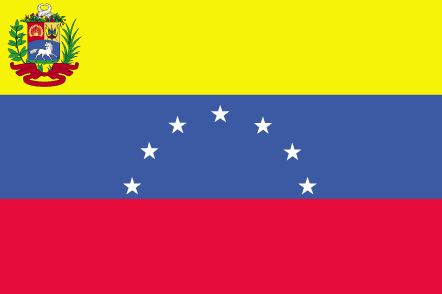 Venezuela Flag~The current flag of Venezuela was officially adopted on April 20, 1836.           The flag is modeled after the one used by the liberation leader, Francisco de Maranda. Blue represents independence from Spain, red symbolizes courage and the centered stars are symbolic of the seven provinces that supported the revolution. The coat of arms is placed upper left.