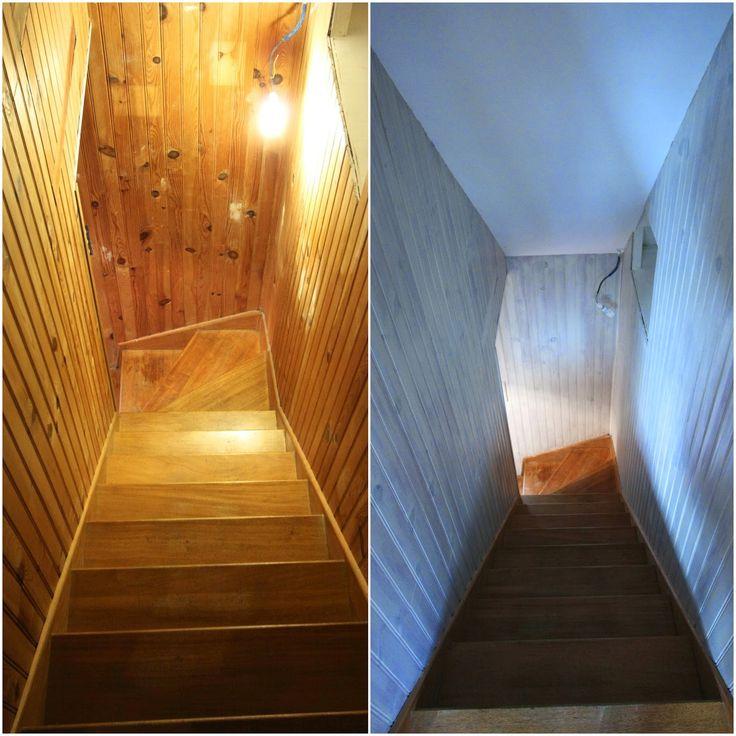 Dans cette entrée, il y avait du lambris partout!!!! mais quand je dis partout c'est partout... en bas, en haut, dans les escaliers.  Le lam...