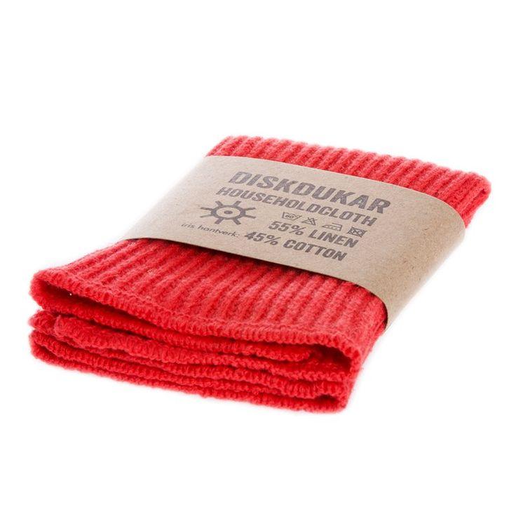 Disktrasa Röd, av lin och bomull, tvättbar i 60 grader, Iris Hantverk