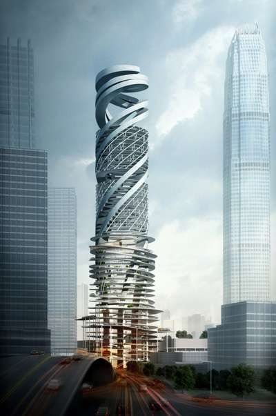 The winner of the competition was Mozhao Studio, design is a spiraling skyscraper that also functions as a public space for consumers.