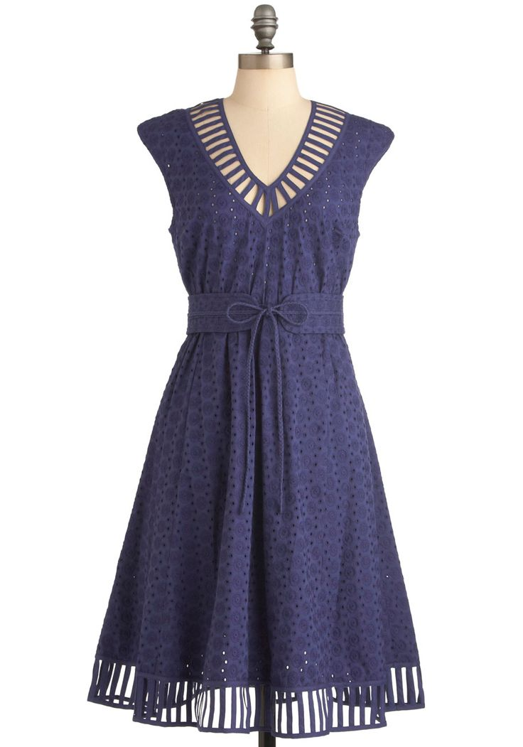 Plenty by Tracy Reese Caprese for You Dress in Blue by Plenty by Tracy Reese - Long, Blue, Solid, Eyelet, A-line, Cap Sleeves, Vintage Inspired, Cutout, Party BM DRESS