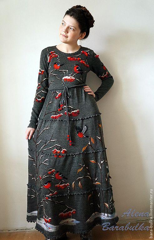Купить Платье Московские снегири - темно-серый, рисунок, снегири, платье длинное, платье в пол