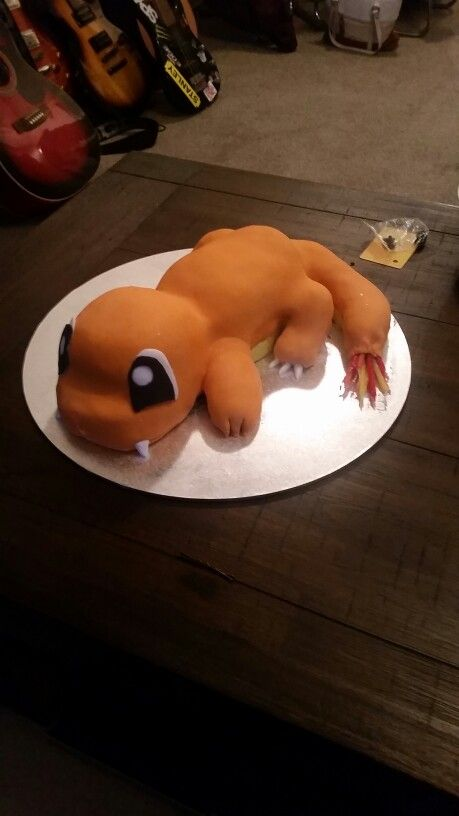 Charmander cake with flaming tail