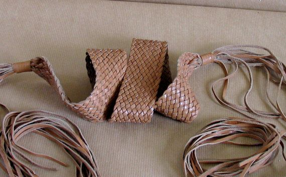 Brown Braided Leather Boho Belt Fringed by vintachi on Etsy, $15.99