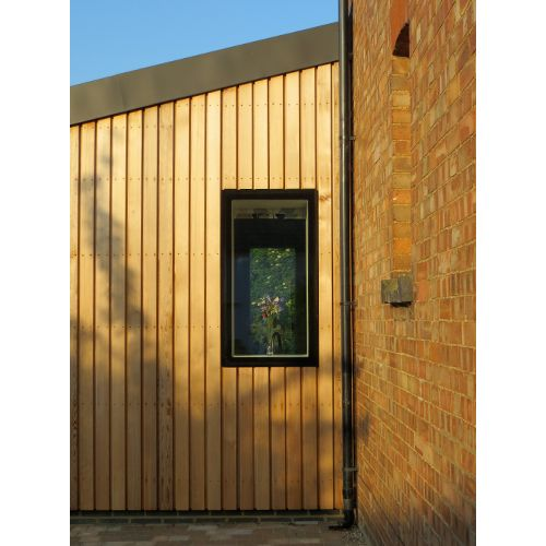 Front Elevation Extension : Front elevation of finished cedar clad extension patio