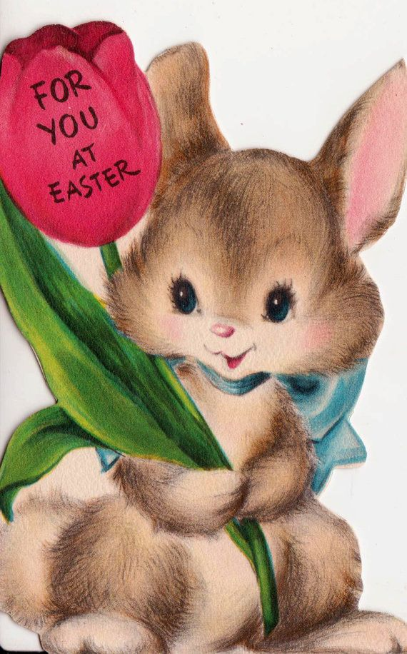 Vintage 1954 Hallmark For You At Easter Bunny Greetings Card (B8)