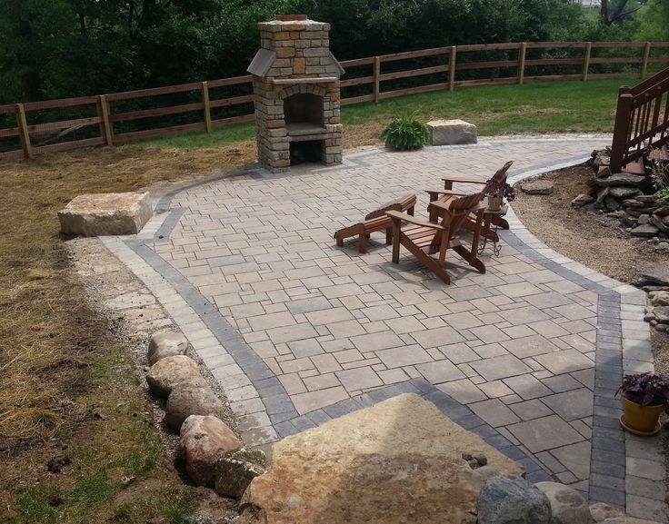 Paver Patio, Natural Stone, Seating Wall, Outdoor Fireplace, Reading Rock,  Brick