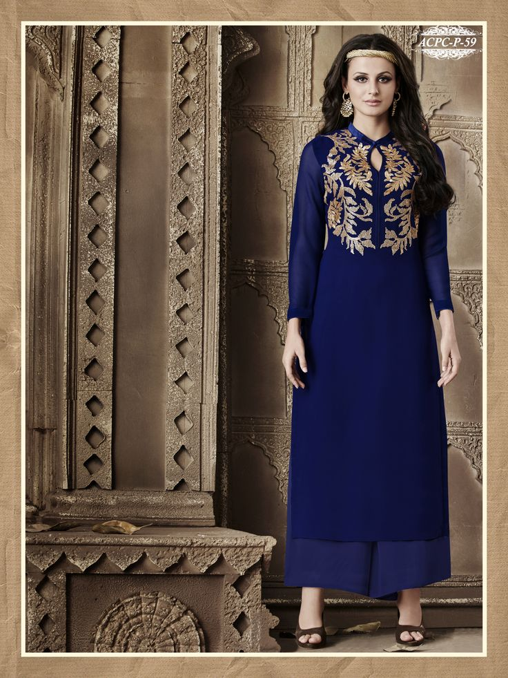 #Blue #Colour #Embroidery #Georgette #Stitched #Kurti @ www.glamyshop.com