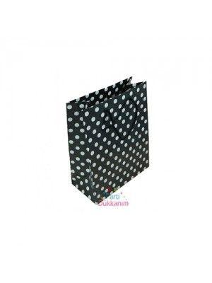 Siyah Beyaz Puanlı Hediye Çantası (17x11 cm)