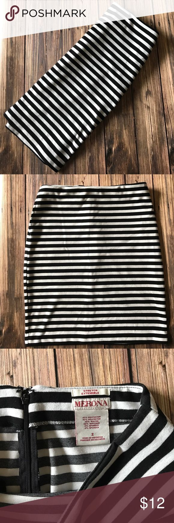 Merona Black & White Stripe Pencil Skirt Pockets 2 Merona black and white striped pencil skirt with pockets. Zippered back with hook & eye. No pilling. Seam has come undone on the inside waistband but it does not affect the wearability of this skirt! Size 2. Bundle and save! Merona Skirts Pencil