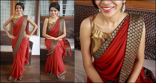 34 | Rs. 3000 Maroon italian crepe with green semi-brocade b… | Flickr