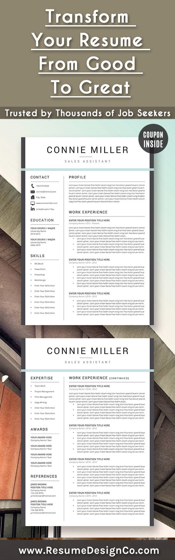 cover letter template for receptionist%0A Transform your resume from good to great  Trusted by thousands of job  seekers u