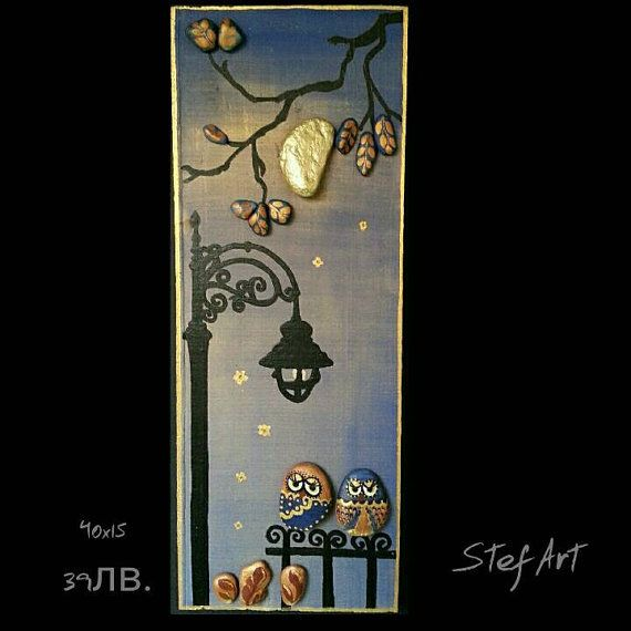 Handpainted OwlsPebble Art Stone Art pallet wood by StefArtNatural