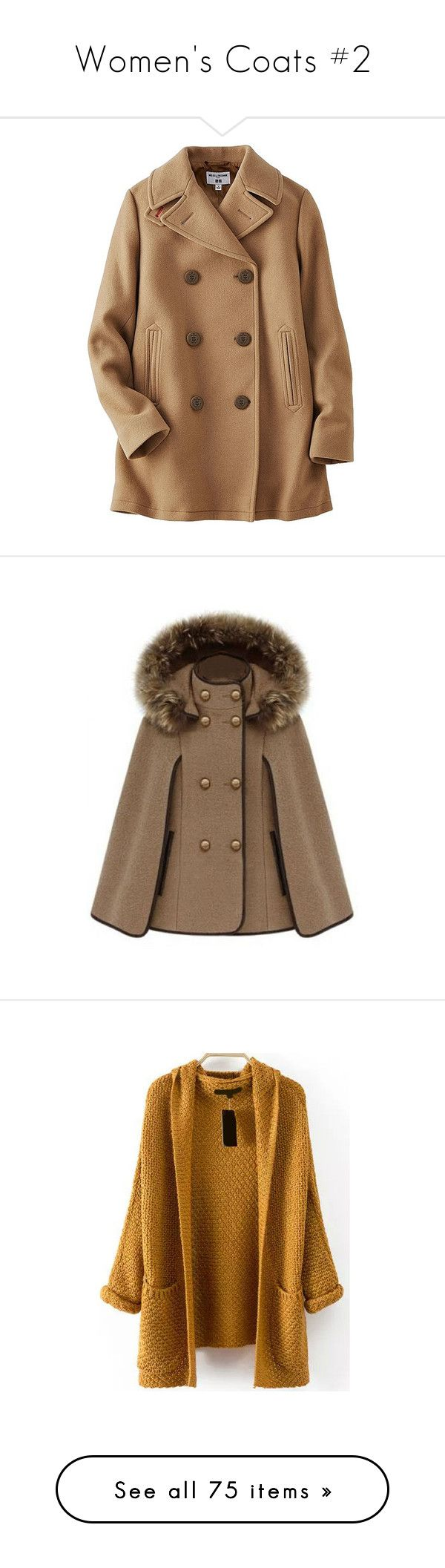 """Women's Coats #2"" by nathalialopes-1 ❤ liked on Polyvore featuring outerwear, coats, jackets, coats & jackets, brown coat, brown peacoat, wool blend coat, brown pea coat, peacoat coat and cape"