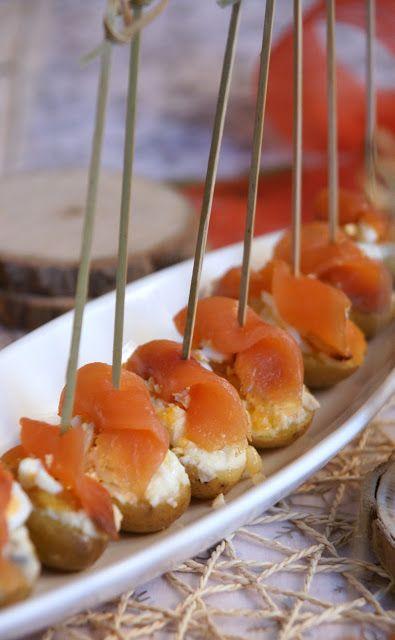 Aperitius de festa, Pintxo de patata baby i salmó: