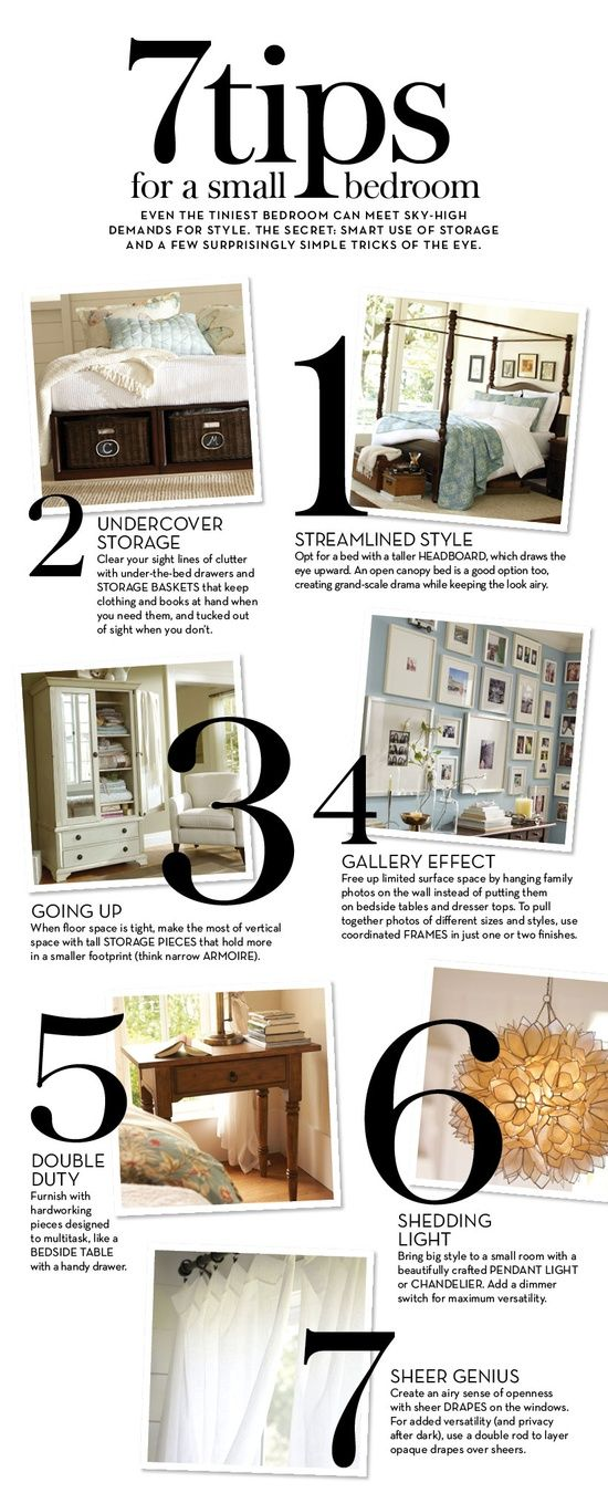 I like the sheer drapes idea. Maybe get 2 different colors and layer them? Could be a cool effect :-) --- 7 Tips for a Small Bedroom | Pottery Barn.