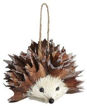 Natural Hedgehog Ornament - Contemporary - Christmas Ornaments ...
