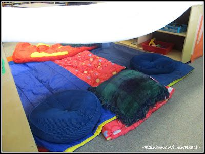 """The children can bring in sleeping bags and set them up underneath a homemade """"tent."""" What a great place to have independent reading time! Don't forget the teddy bears. :)"""