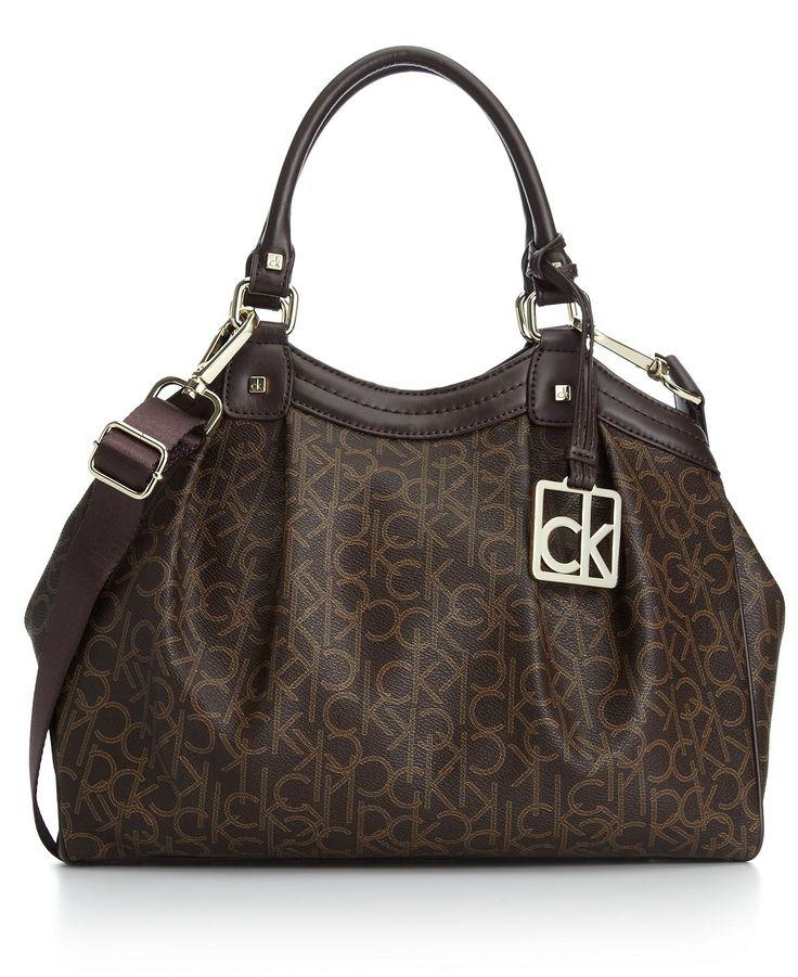 calvin klein handbag  ck coated jacquard satchel in khaki  brown