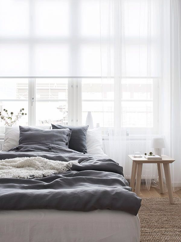 grey sheets + white curtain
