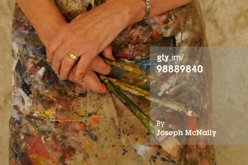 paint!Painters Hands, Holding Brushes, Brushes Stockfoto, Hands Holding