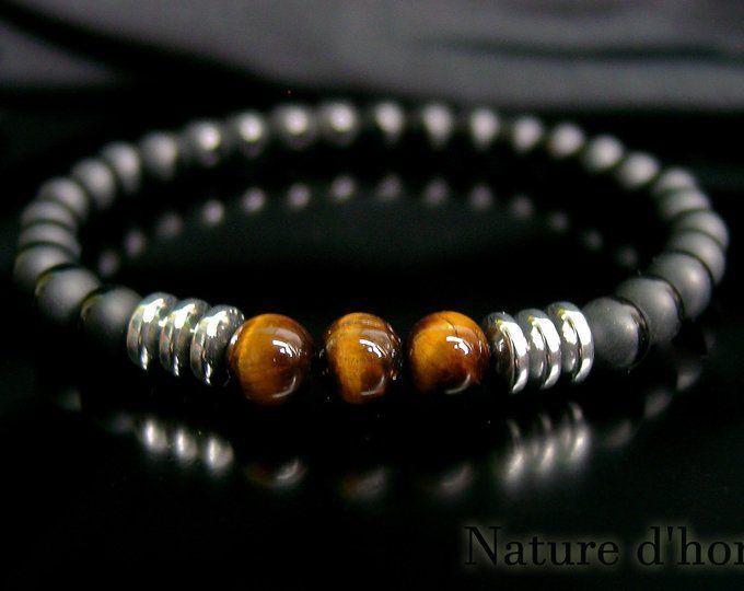 code promo 95bfa b24ce Bijoux hommes Bracelet homme en pierres d'onyx | Etsy #men ...