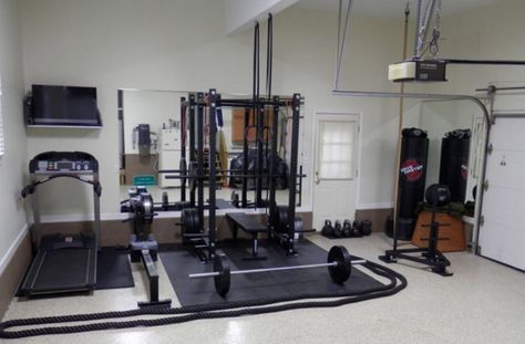 Garage Gym Inspirations & Ideas Gallery – Garage Gyms (Cause we'll be using the garage for a gym...and to store the lawn mower).
