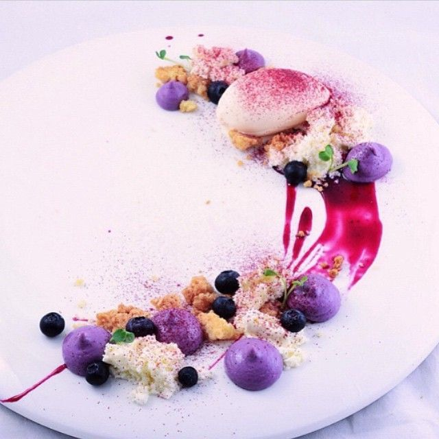 Instagram media by chefsofinstagram - [Blueberry Cheese Pie] - Baked Cheese Puree, Spin Cheese With Blueberry Compote, Aerated Cheese Pie Creme, Vanilla Crumble, Blueberry Sauce, Raspberry Powder, & Mascarpone Ice Cream. ✅ By - @vuesaruda ✅  #ChefsOfInstagram