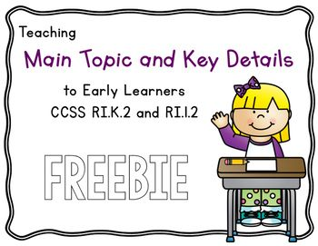 Main Topic And Key Details Kindergarten Freebie Freebies Kinder Tribe Lesson Plans Lessons Idea