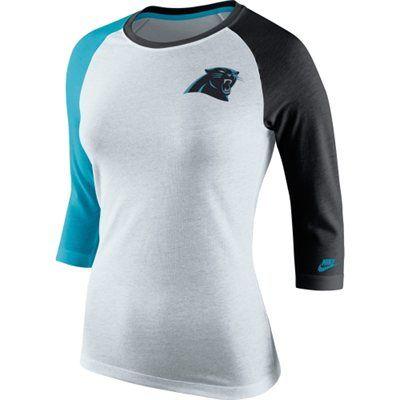 Women's Carolina Panthers Nike Gray Strong Side 3/4-Sleeve Raglan T-Shirt