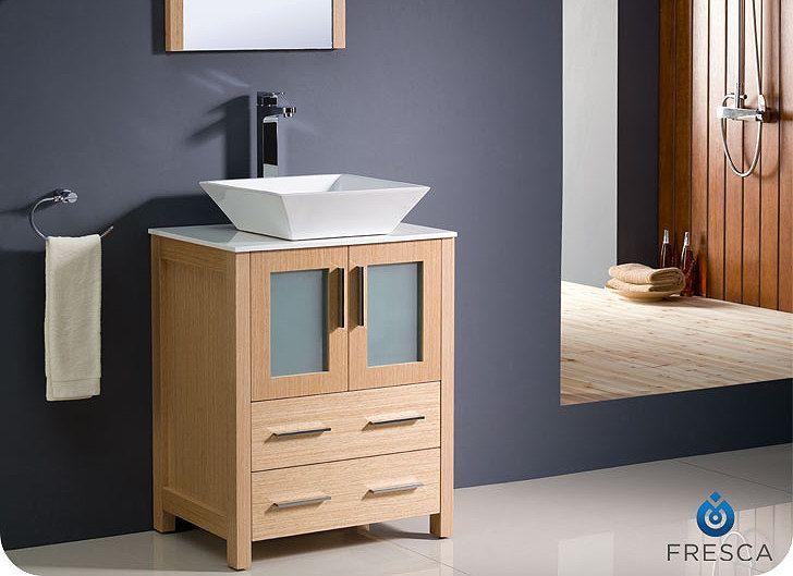 Best Photo Gallery For Website  Fresca Torino Modern Bathroom Vanity w Vessel Sink Light Oak from BathKitchenandBey