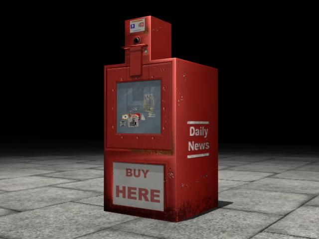 Low poly model of a newspaper dispenser - Diane Wallace 2005