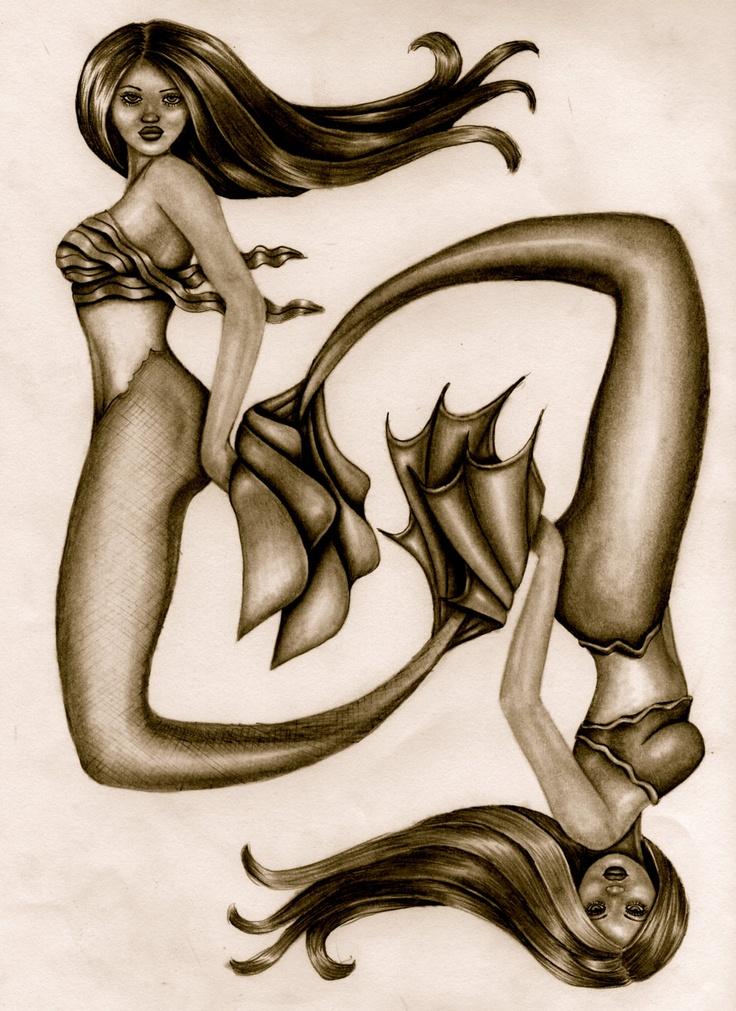 Mermaid Art Print Pisces Mermaid Drawing Fantasy by ShaktiGoddess