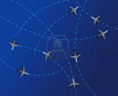 Air travel. Dotted lines are flight paths  Stock Photo