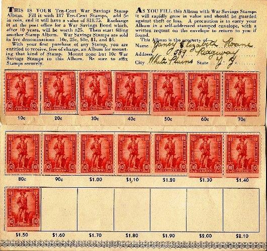 WWII war bonds | War Bond Stamp Book, first page