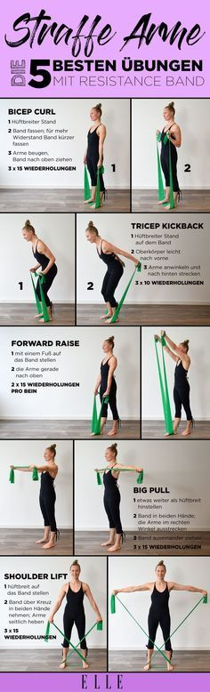 Tight Arms with the Resistance Band: 5 Simple Exercises for Home #arm #st …  -…