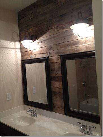 This might have to go in our bathroom - awesome idea (Pallet accent wall)