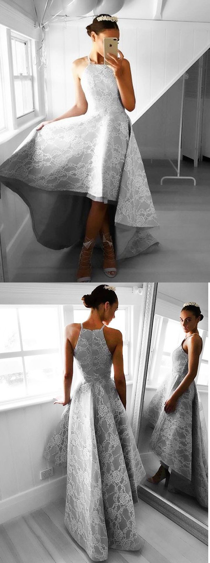 L07 A-line Halter Prom Dress,Grey Satin Evening Dress,Asymmetry Sleeveless Prom/Homecoming Dress with Lace,Appliques Formal Dress,Chic New Arrival Prom Gown,Prom Dresses