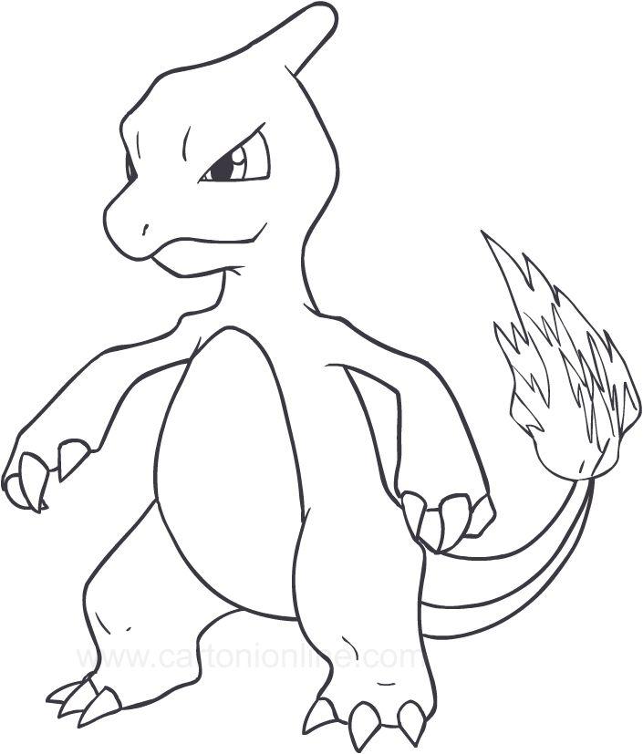 Disegno Di Charmeleon Dei Pokemon Da Stampare E Colorare Pokemon Disegni Disegni Da Colorare